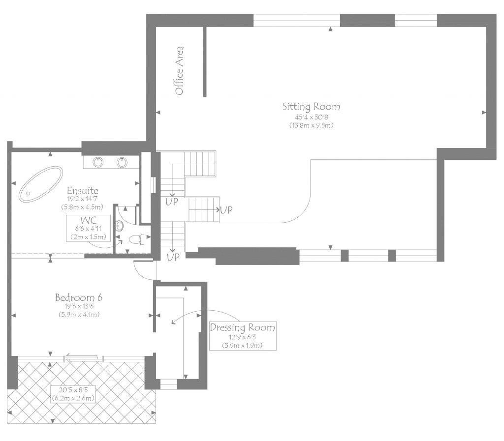 Bathroom Layout 2M X 3M luxury chalet alpaca - sleeps 12 and the entertaining spaces are